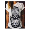 Cool Ethnic Style Floral Eye Printed Basic Short Sleeve White Tee