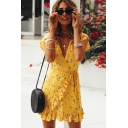 Summer Popular Yellow Floral Printed Surplice V-Neck Tied Waist Mini A-Line Wrap Dress