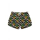 Fancy Zigzag Stripe Pineapple Printed Drawstring Waist Womens Swimwear Beach Shorts