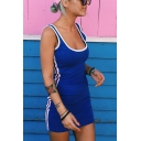 Womens Hot Fashion Summer Blue Striped Side Scoop Neck Sleeveless Mini Bodycon Tank Dress