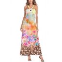 Summer Fancy Floral Painting Halter Neck Sleeveless Maxi Swing Dress