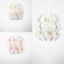Green/Orange/White Spherical Hanging Light Modern 1 Light Metal Exploding Pendant Lamp for Restaurant Dining Room