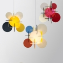 Acrylic Circular Shade Pendant Lighting Kids Room 1 Light Hanging Lamp in Multi Color