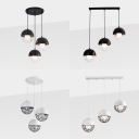 Triple Light Orb Hanging Lamp Modern Simple Metal Caged Pendant Light in Black/White