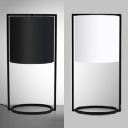 Cylindrical Shade Standing Desk Lamp Contemporary Fabric Single Light Table Lamp in Black/White