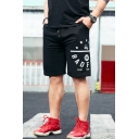 Men's Summer New Trendy Letter BADFIVE Stars Graphic Printed Drawstring Waist Black Cotton Sweat Shorts