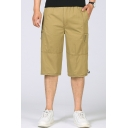 Men's Summer Fashion Simple Plain Zipped Pocket Side Drawstring Waist Casual Cotton Cargo Shorts