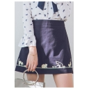 Girls Sweet Cat Embroidery High Rise Navy Blue Mini A-Line Skirt with Liner