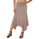 Womens Basic Simple Plain Maxi Asymmetrical Skirt