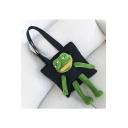 Girls Funny Comic Sad Frog Shaped Fashion Shoulder Bag 34*34cm