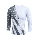 Guys Fashion Star Flag Print Round Neck Long Sleeve Slim Fitted T-Shirt
