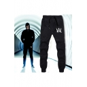 Cool Logo Printed Drawstring Waist Gathered-Cuff Cotton Black Sweatpants