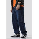 Men's New Stylish Simple Plain Double Flap Pocket Side Drawstring Cuffs Dark Blue Loose Fit Cargo Jeans