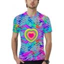 Stylish Colorful Heart Pattern Round Neck Short Sleeve T-Shirt
