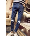 Men's Fashion Letter XN YX Printed Patch Slim Fit Casual Jeans