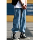Men's Street Style Fashion Letter Printed Drawstring Cuffs Straight Loose Fit Casual Jeans
