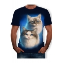 Summer Hot Popular 3D Cat Pattern Round Neck Short Sleeve Blue Tee