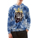 Hot Popular Crown Lion Print Long Sleeve Blue Casual Loose Hoodie