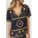 Summer Stylish Tribal Pattern V-Neck Short Sleeve Loose Casual T-Shirt for Women