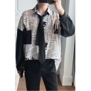 Guys Cool Vintage Black and White Newspaper Print Long Sleeve Loose Fitted Button Shirt