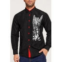 Mens Stylish Cool Gesture Pattern Long Sleeve Button Up Black Shirt