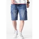 Men's Summer New Fashion Blue Washed Flap Pocket Side Casual Cargo Denim Shorts