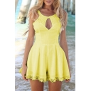 Girls New Stylish Solid Color Lace Patch Hem Sleeveless Sexy Cut Out Front High Waist Slim Romper