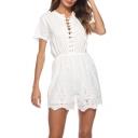 Summer Girls Hot Fashion Plain Lace Up Front Short Sleeve Lace Scalloped Hem Loose White Romper