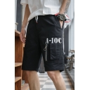 Men's Summer New Fashion Letter A-10C Printed Zipped Pocket Drawstring Waist Trendy Cargo Shorts