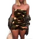 Womens Sexy Fashion Camo Printed Strapless Skinny Fit Bandeau Romper for Party