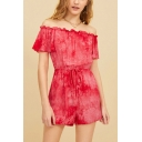 Girls Fancy Hot Fashion Red Tie Dye Drawstring Waist Off Shoulder Holiday Romper