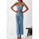 Summer Chic Sexy Plain Strapless Cutout Waist Fitted Bandeau Jumpsuits for Women