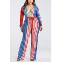 Trendy Womens Plus Size Colorblocked Striped Print Long Sleeve Surplice V-Neck Tie Waist Fitted Jumpsuits