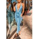 Womens Hot Fashion Halter V-Neck Blue Stripes Sleeveless Waist Tie Slinky Jumpsuits