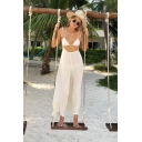 Womens Hot Stylish White Spaghetti Straps Sleeveless Casual Loose Holiday Wide-Leg Suspender Jumpsuits