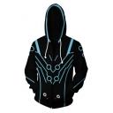 Popular Game Cosplay Costume Long Sleeve Sport Casual Zip Up Black Hoodie