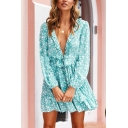 Summer Womens Fancy Light Blue Floral Printed Plunging Neck Long Sleeve Mini A-Line Dress