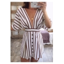 Womens Sexy Plunging V-Neck Open Back Batwing Sleeve Button Front Mini A-Line Dress