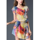 Womens Fancy Printed Round Neck Short Sleeve Casual Mini Sheath Chiffon Dress