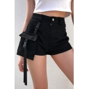 Girls Cool Street Fashion Buckled Pocket Side Black Slim Shorts