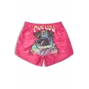 Cartoon Dog Print Back Drawcord Waist Quick Dry Pink Casual Loose Beach Shorts with Liner
