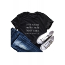 Summer Popular Letter LATE NIGHT Print Round Neck Short Sleeve Loose Fit Tee