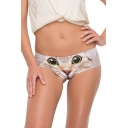 New Stylish Womens Cute Cat Print Ear Design Back Panty Shorts
