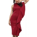 Womens Unique Designer Ruffled Patched Sleeveless Midi Fitted Dress