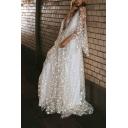 Womens Chic Stylish White Star Print Sheer Mesh Plunge V Neck Maxi Glitter Party Dress