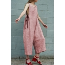 Womens Hot Popular Scoop Collar Tie-Side Cotton and linen Sleeveless Wide Leg Simple Vest Jumpsuits