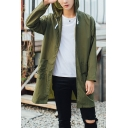 Mens New Trendy Simple Plain Long Sleeve Outdoor Sun Protection Zip Up Hooded Longline Skin Jacket Coat