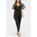 Womens Black Plunge V-Neck Belt Waist Mesh Sleeve Patch Long Pants Fitted Jumpsuits