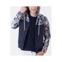 Guys Popular Floral Leaf Patched Long Sleeve Hooded Zip Up Sport Loose Track Jacket