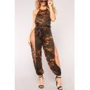 Womens Camouflage Print Halter Sleeveless Tie Waist Split Side Sexy Jumpsuits